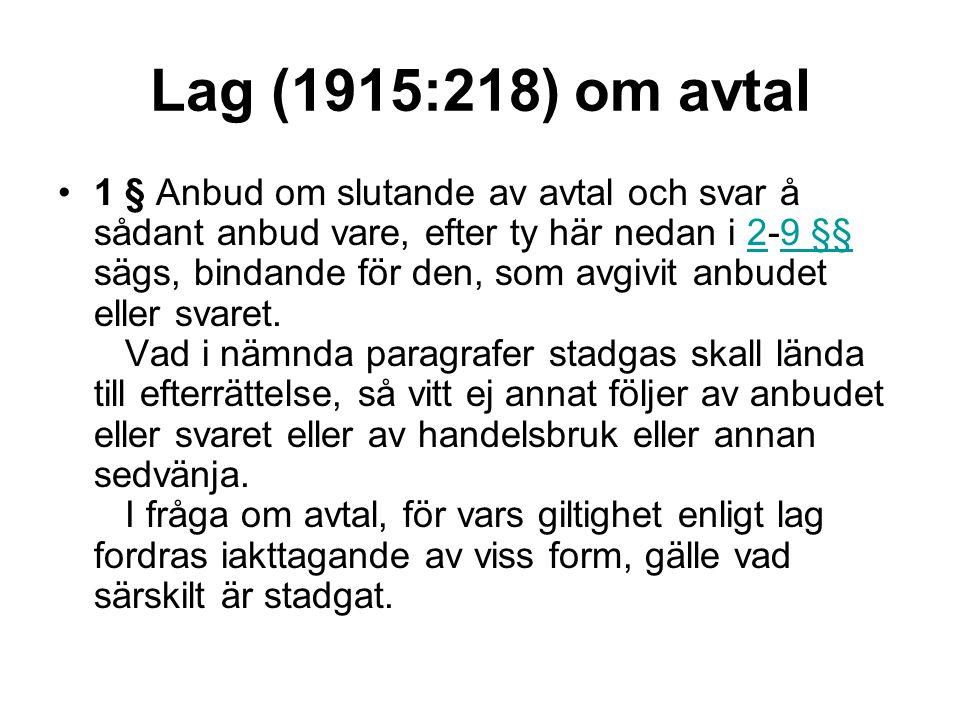 Lag (1915:218) om avtal