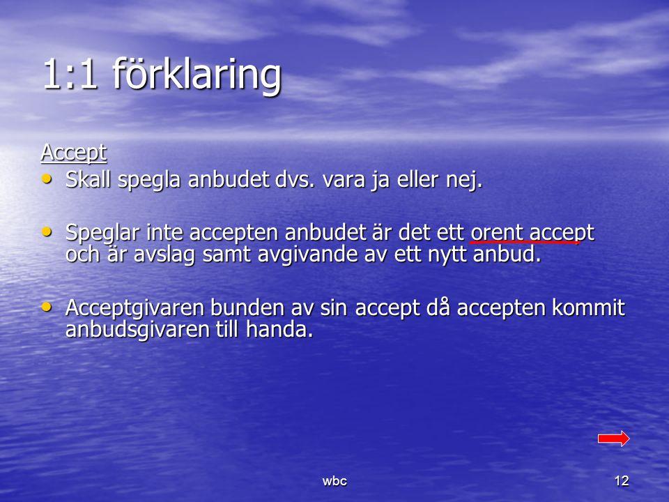 1:1 förklaring Accept Skall spegla anbudet dvs. vara ja eller nej.