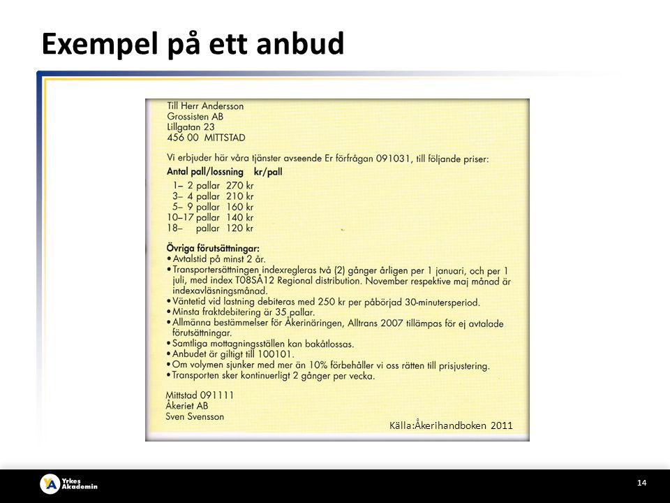 Exempel på ett anbud Källa:Åkerihandboken 2011