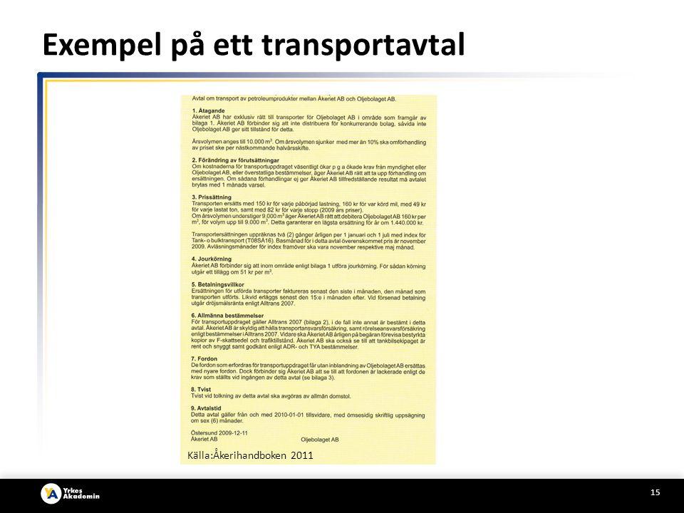 Exempel på ett transportavtal