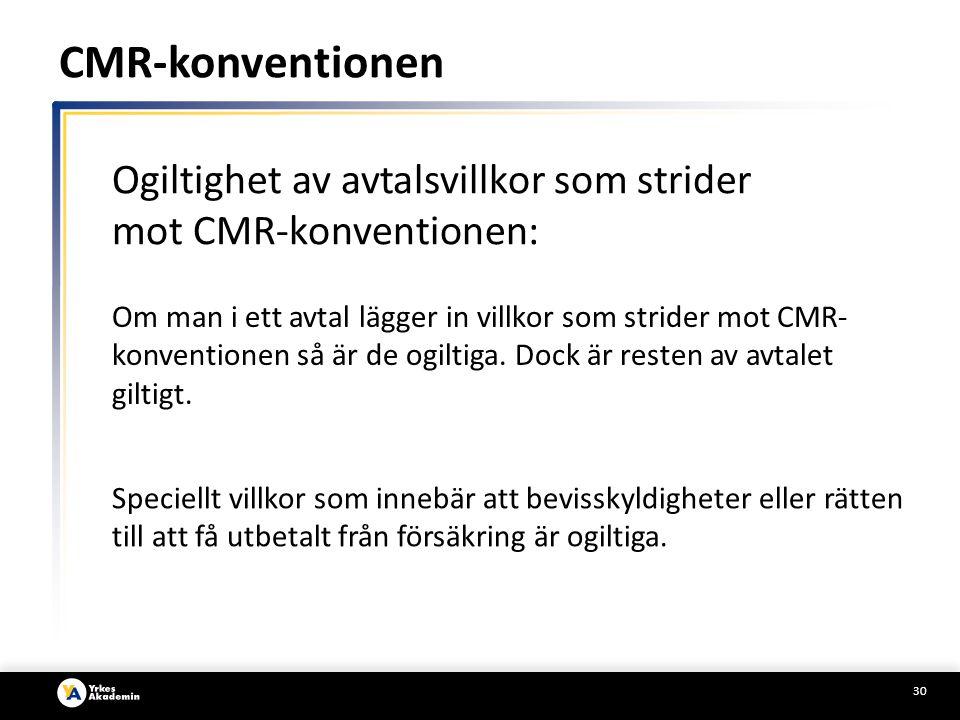 CMR-konventionen Ogiltighet av avtalsvillkor som strider mot CMR-konventionen: