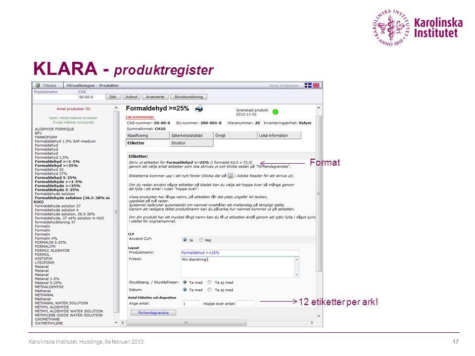 KLARA - produktregister