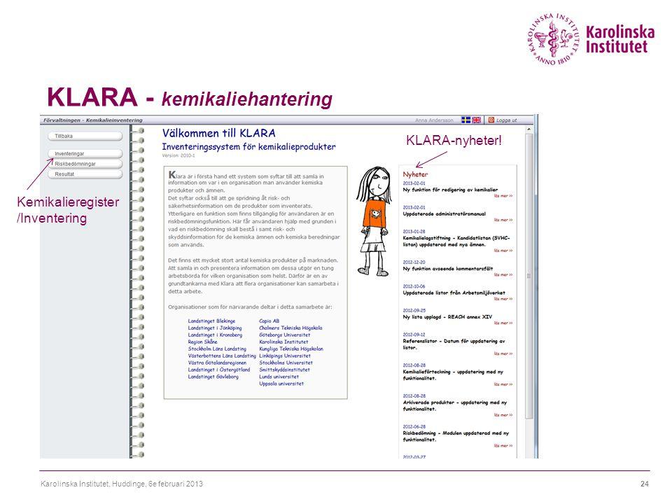 KLARA - kemikaliehantering