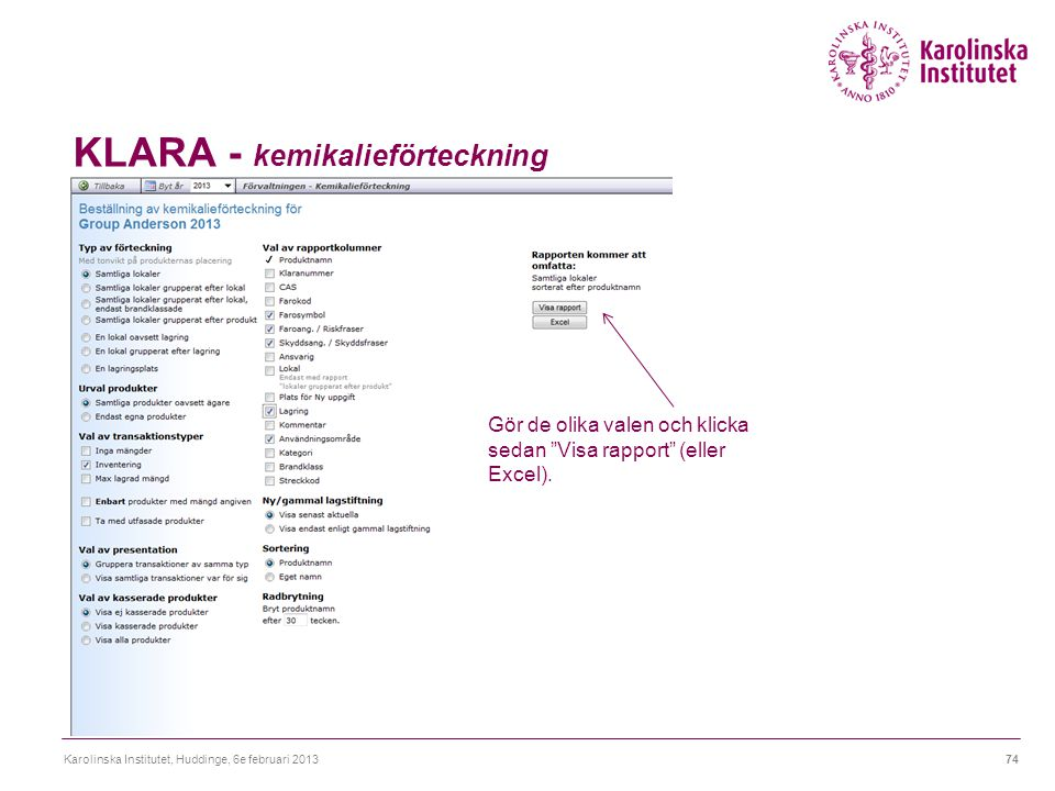 KLARA - kemikalieförteckning