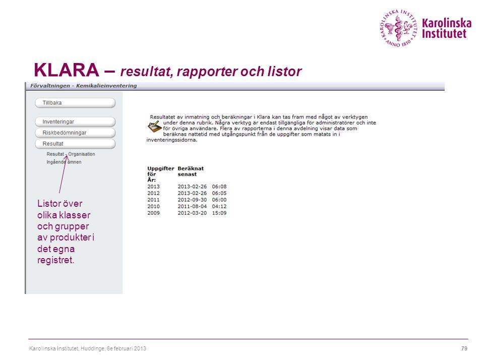 KLARA – resultat, rapporter och listor