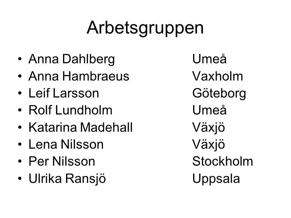 Arbetsgruppen Anna Dahlberg Umeå Anna Hambraeus Vaxholm
