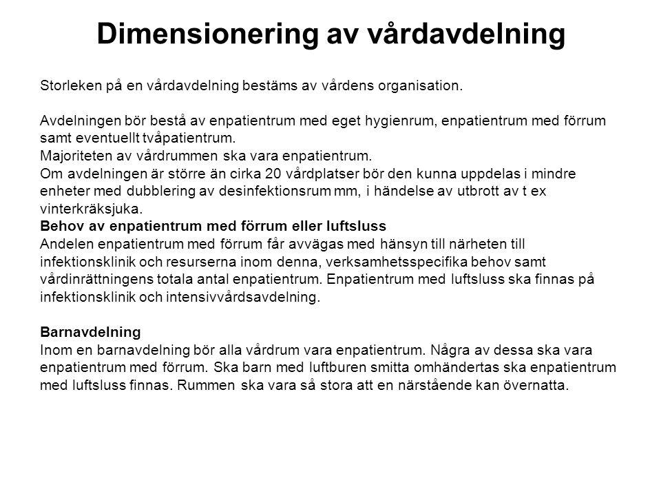 Dimensionering av vårdavdelning