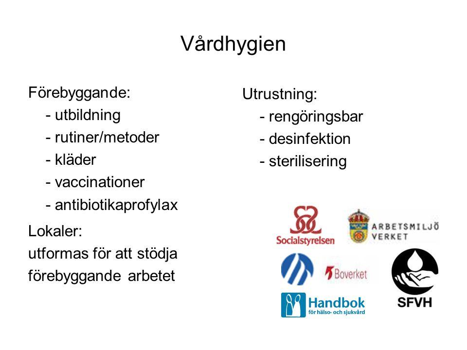 Vårdhygien Förebyggande: - utbildning - rutiner/metoder - kläder - vaccinationer - antibiotikaprofylax