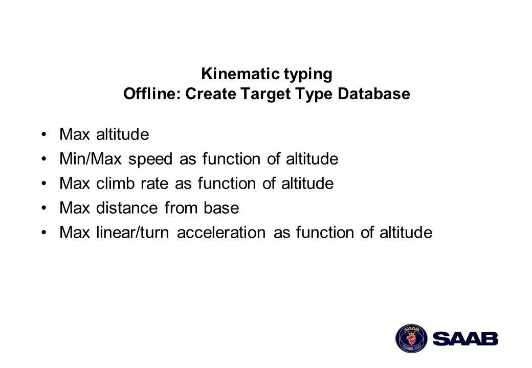 Kinematic typing Offline: Create Target Type Database