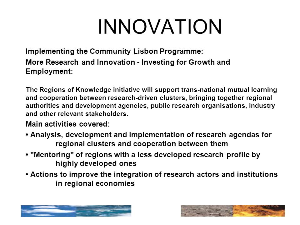 INNOVATION Implementing the Community Lisbon Programme: