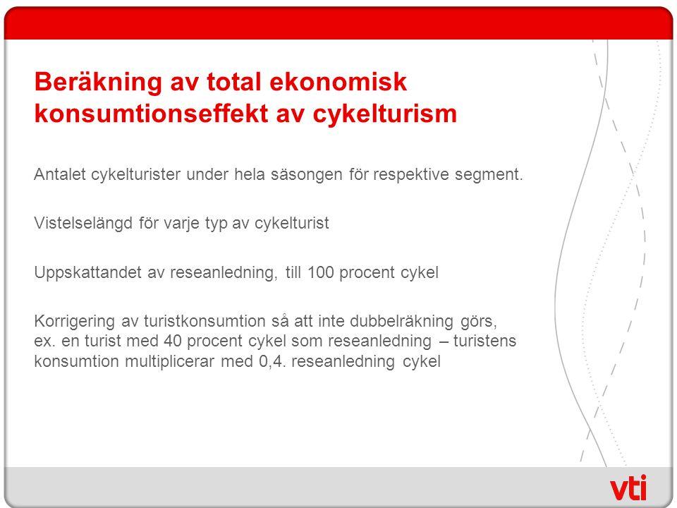 Beräkning av total ekonomisk konsumtionseffekt av cykelturism