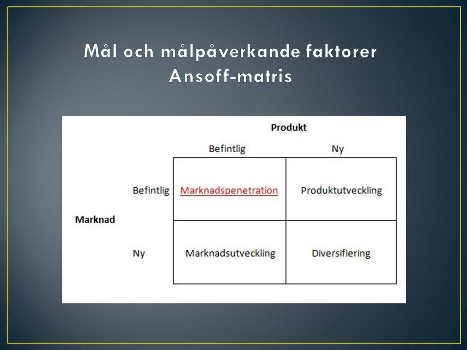 Mål och målpåverkande faktorer Ansoff-matris