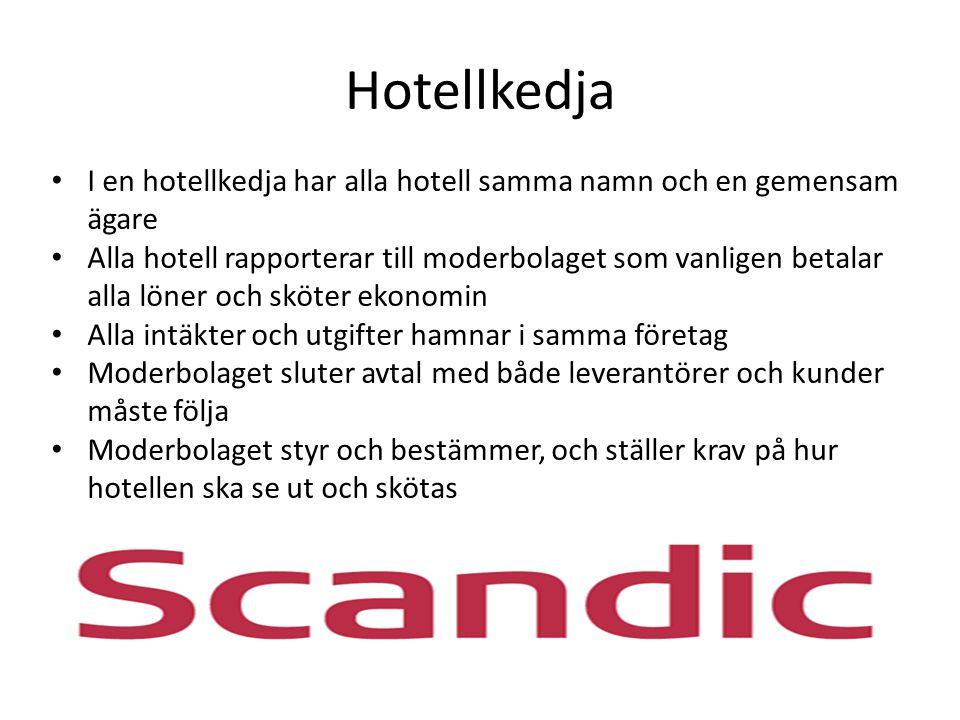 Hotellkedja I en hotellkedja har alla hotell samma namn och en gemensam ägare.