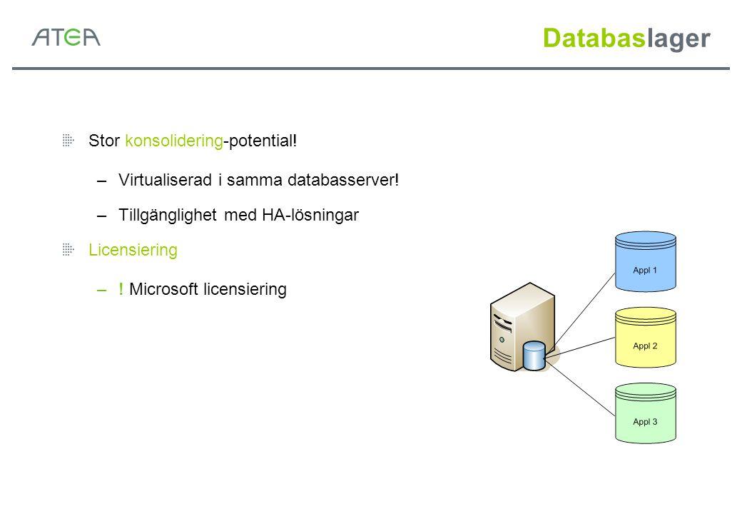 Databaslager Stor konsolidering-potential!