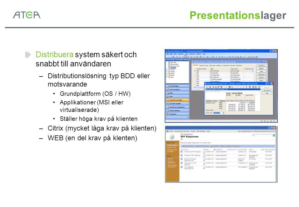 Presentationslager Distribuera system säkert och snabbt till användaren. Distributionslösning typ BDD eller motsvarande.
