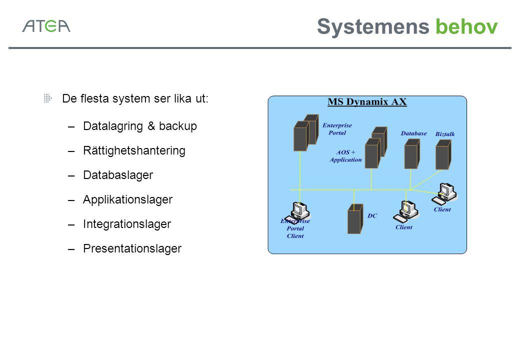 Systemens behov De flesta system ser lika ut: Datalagring & backup