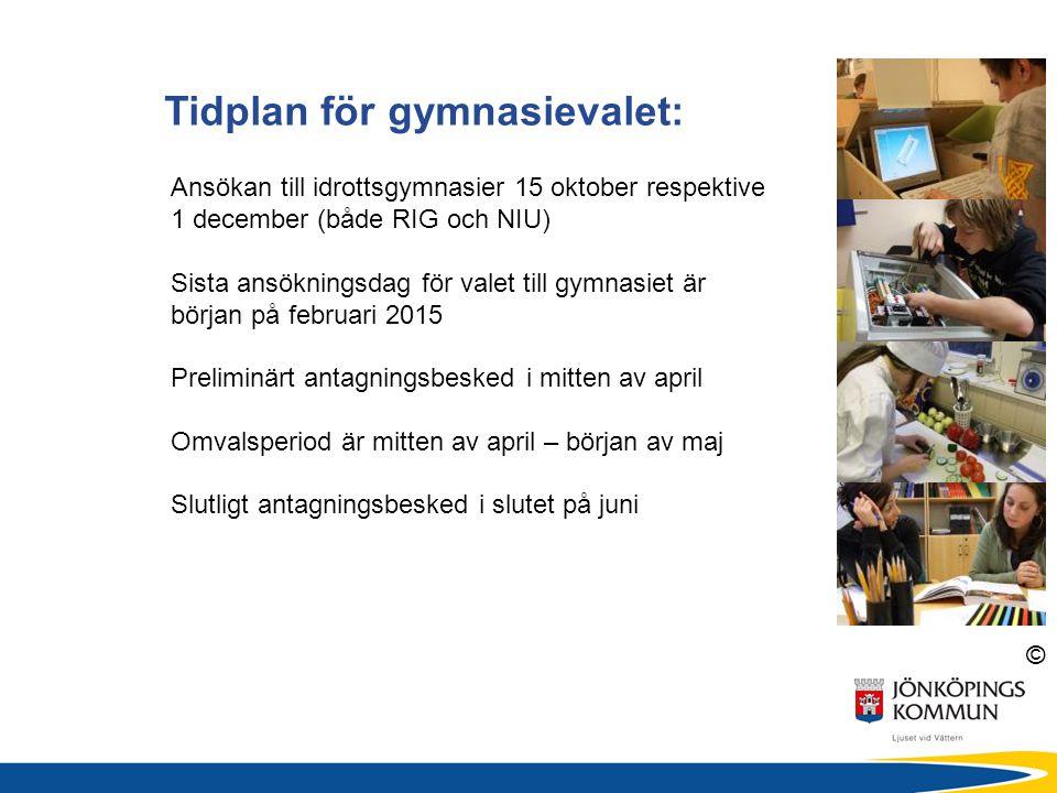 Tidplan för gymnasievalet: