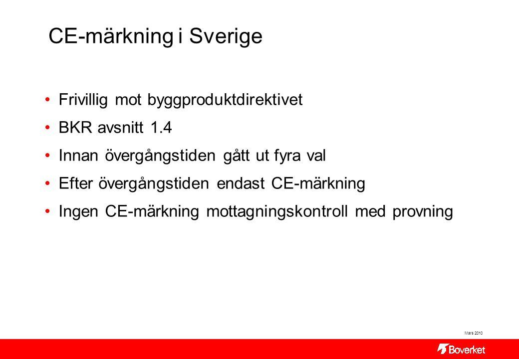 CE-märkning i Sverige Frivillig mot byggproduktdirektivet