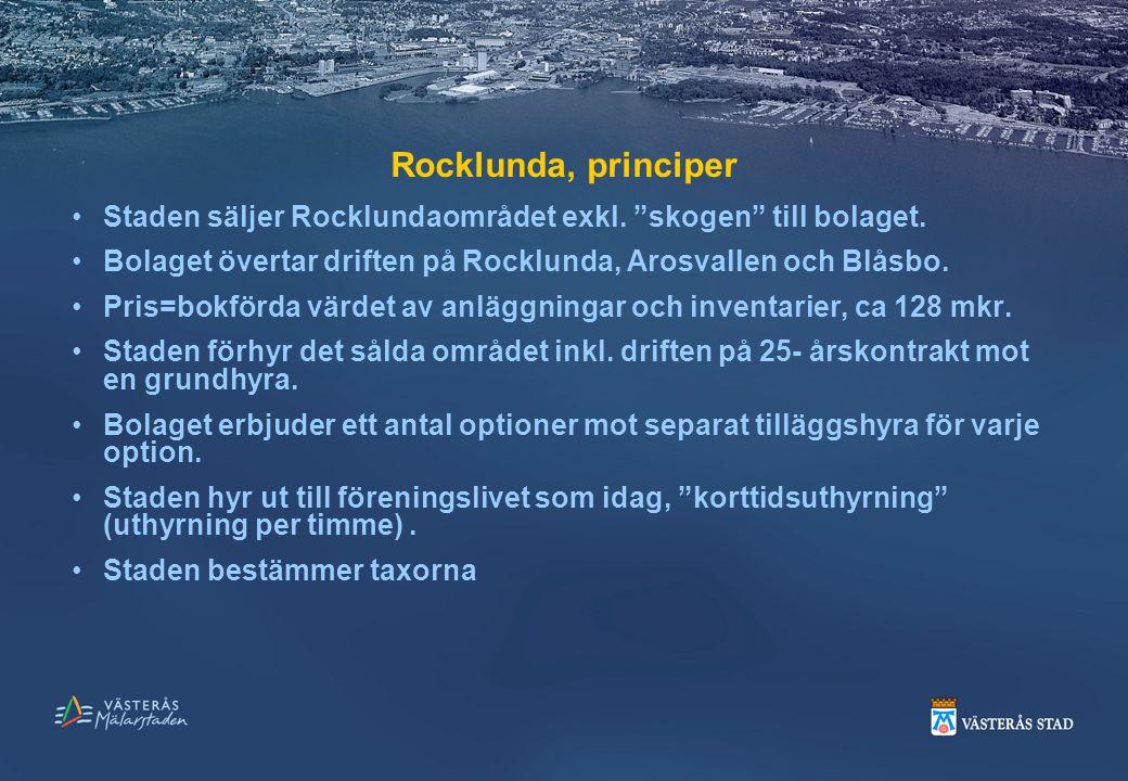 Rocklunda, principer Staden säljer Rocklundaområdet exkl. skogen till bolaget. Bolaget övertar driften på Rocklunda, Arosvallen och Blåsbo.