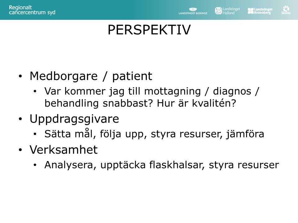 PERSPEKTIV Medborgare / patient Uppdragsgivare Verksamhet