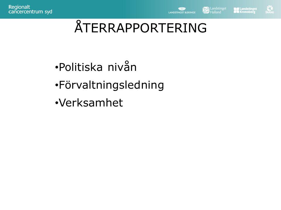 ÅTERRAPPORTERING Politiska nivån Förvaltningsledning Verksamhet
