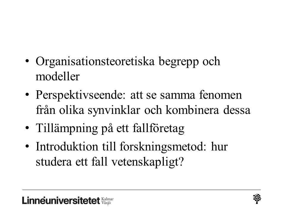Organisationsteoretiska begrepp och modeller