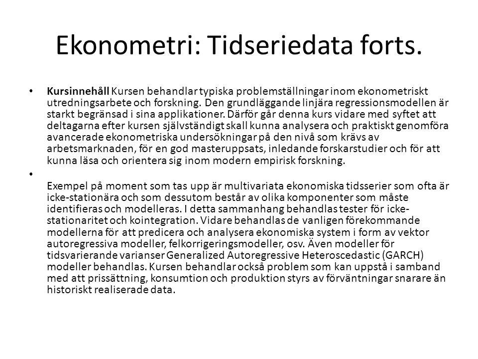 Ekonometri: Tidseriedata forts.