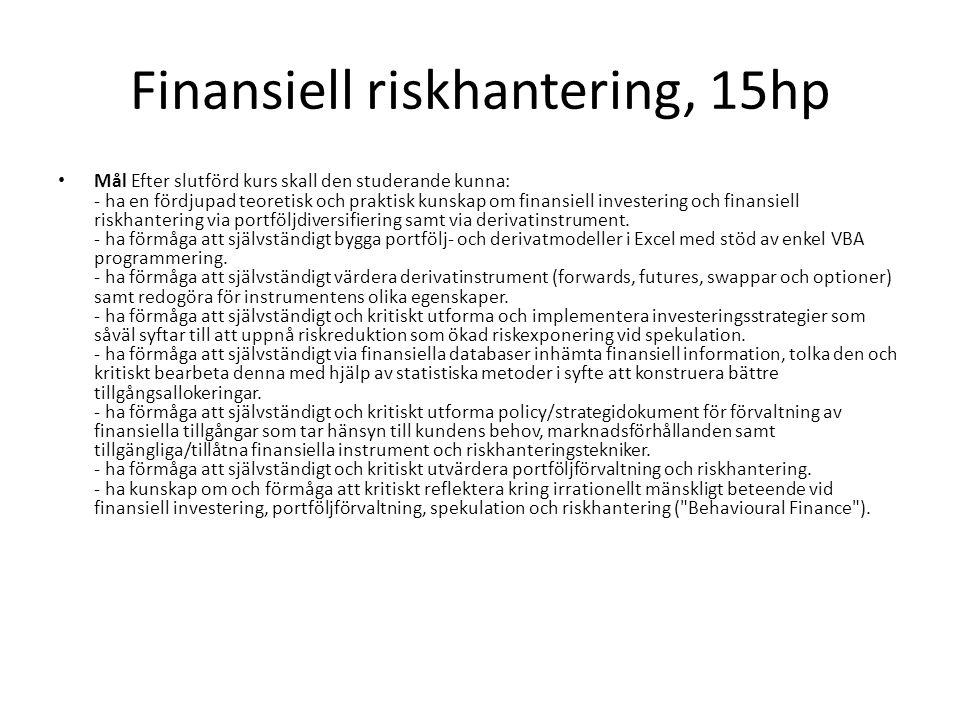 Finansiell riskhantering, 15hp