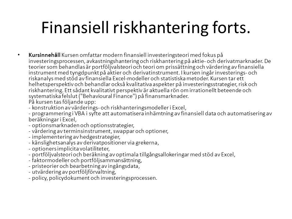 Finansiell riskhantering forts.
