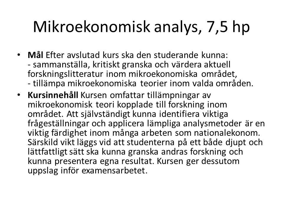 Mikroekonomisk analys, 7,5 hp