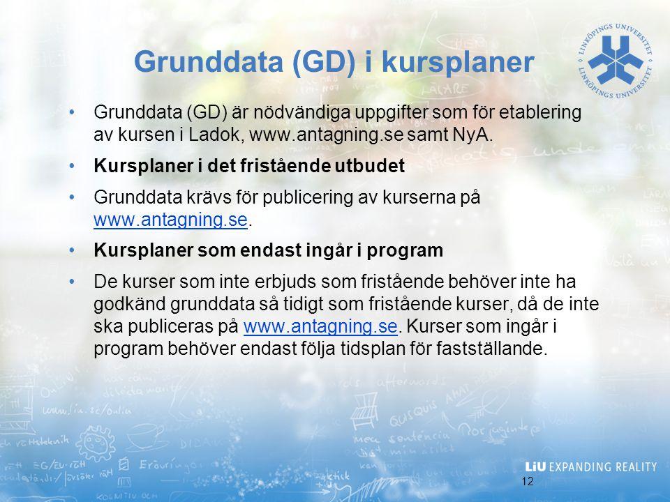 Grunddata (GD) i kursplaner