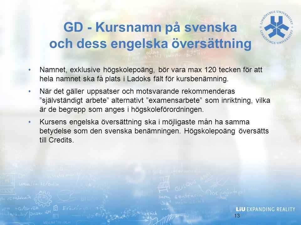 GD - Kursnamn på svenska och dess engelska översättning