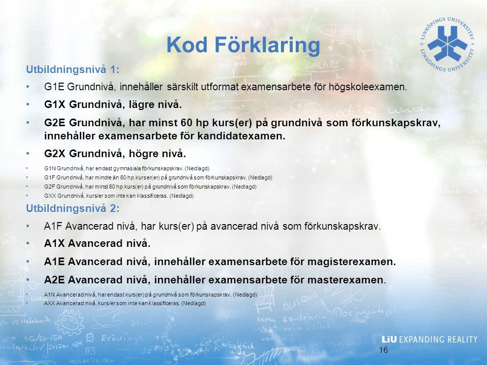 Kod Förklaring Utbildningsnivå 1: G1X Grundnivå, lägre nivå.
