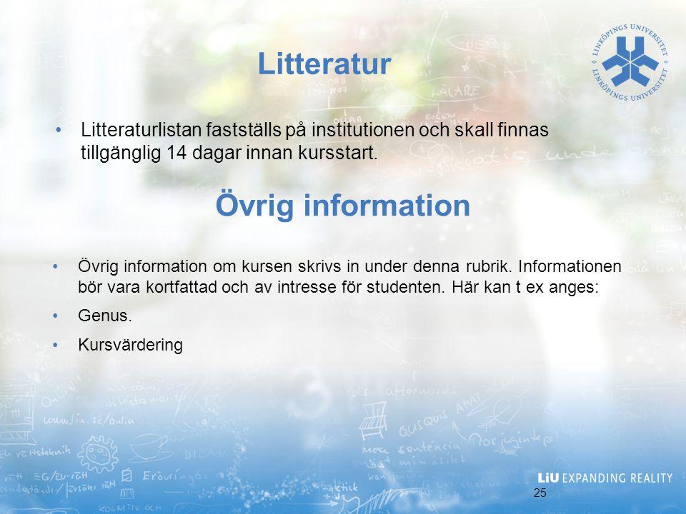 Litteratur Övrig information