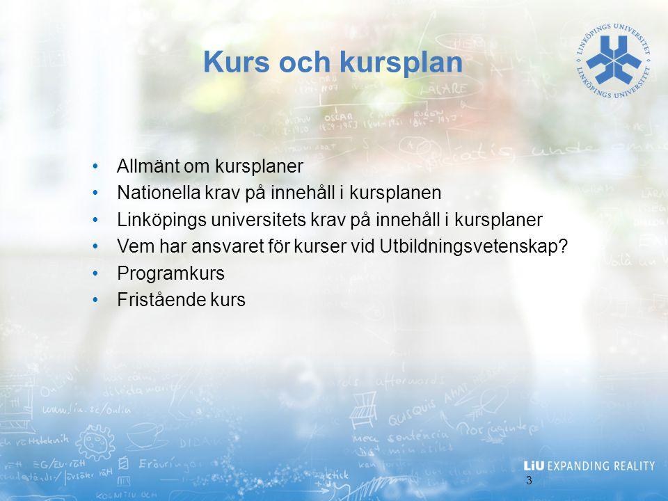 Kurs och kursplan Allmänt om kursplaner