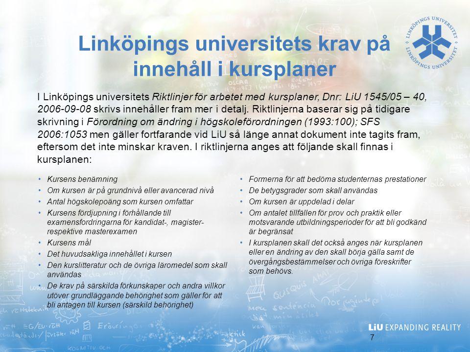 Linköpings universitets krav på innehåll i kursplaner