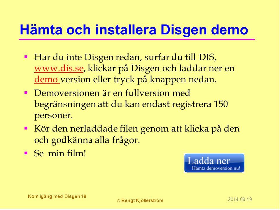 Hämta och installera Disgen demo