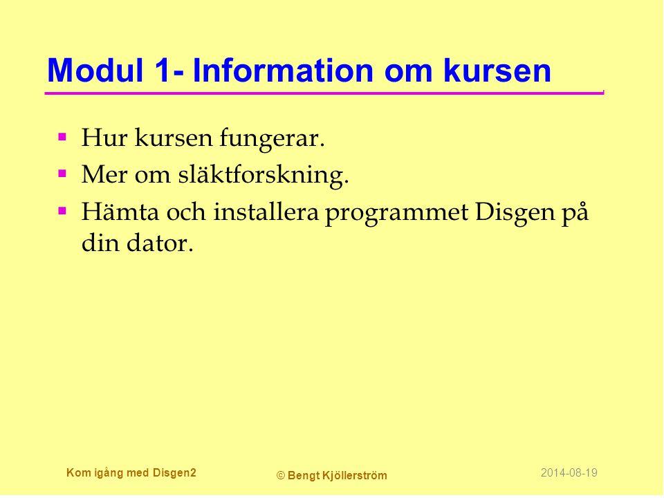 Modul 1- Information om kursen