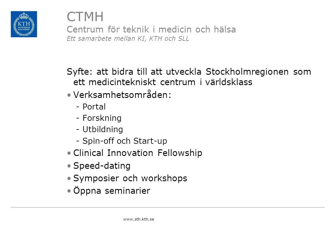 CTMH Centrum för teknik i medicin och hälsa Ett samarbete mellan KI, KTH och SLL