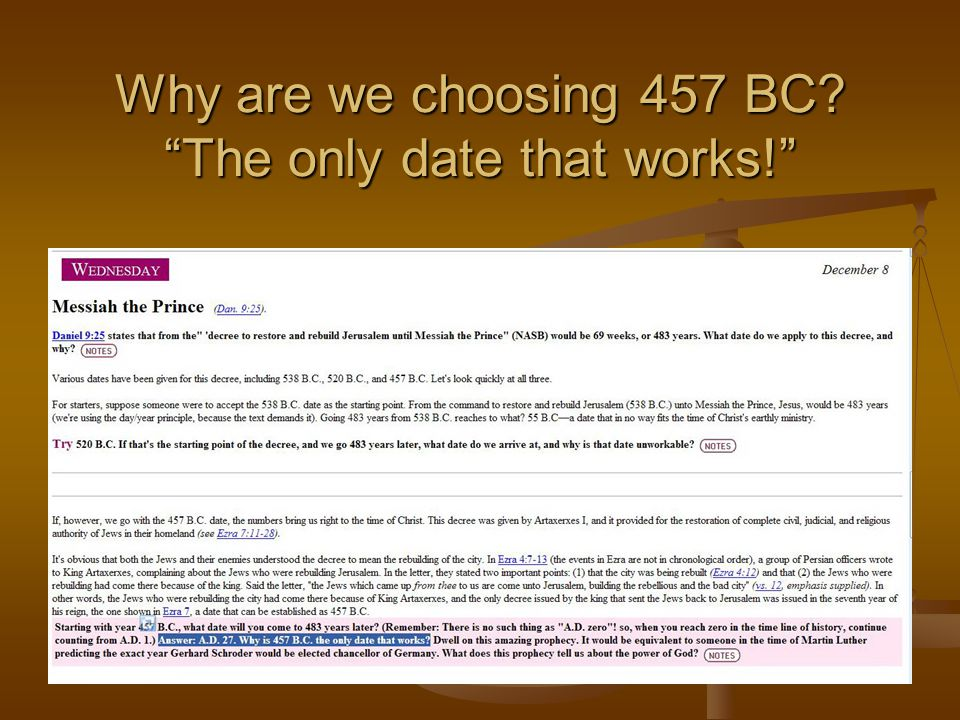Why are we choosing 457 BC The only date that works!