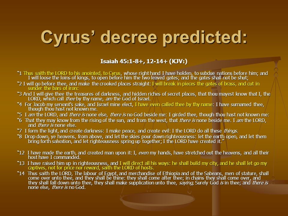 Cyrus' decree predicted: