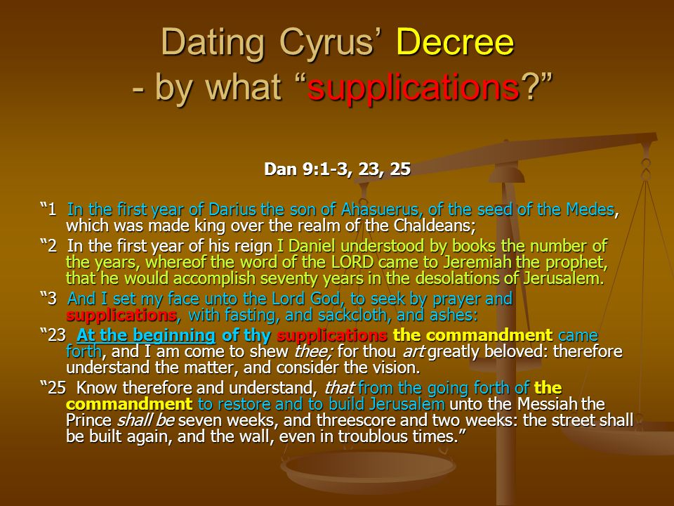 Dating Cyrus' Decree - by what supplications