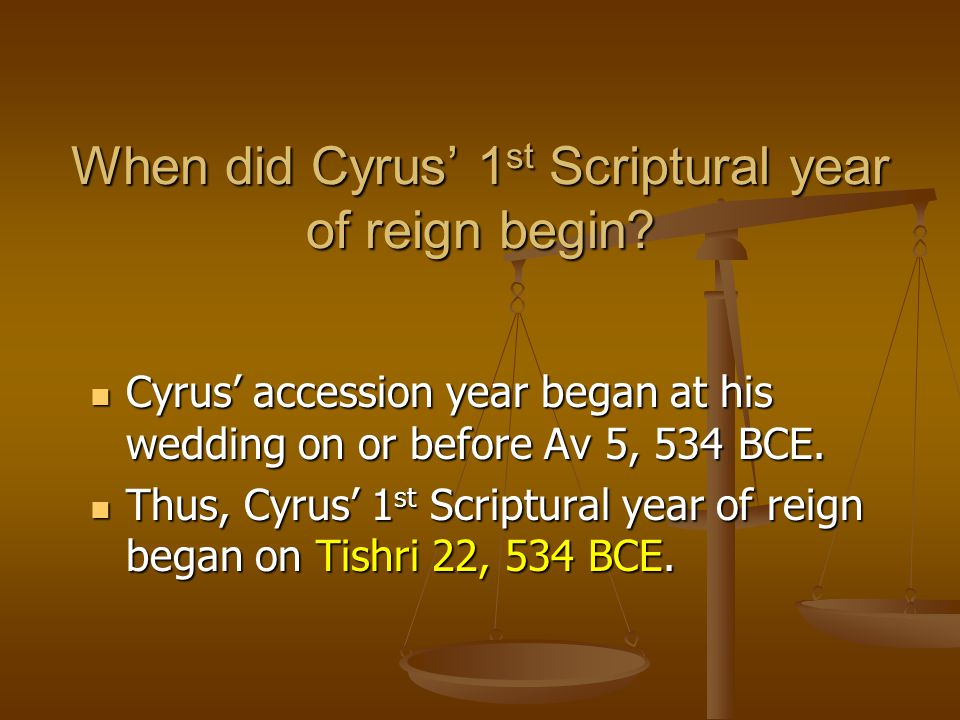 When did Cyrus' 1st Scriptural year of reign begin