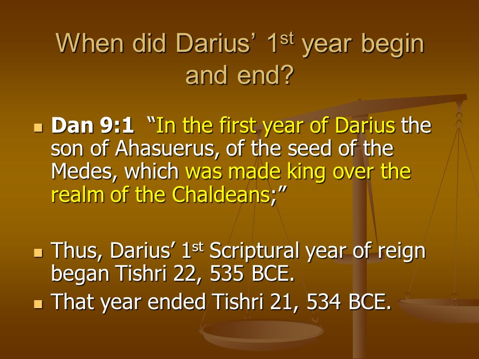 When did Darius' 1st year begin and end