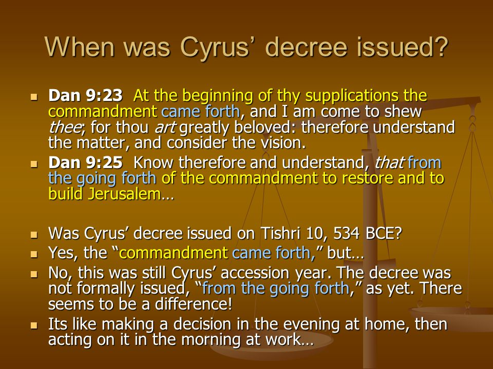 When was Cyrus' decree issued
