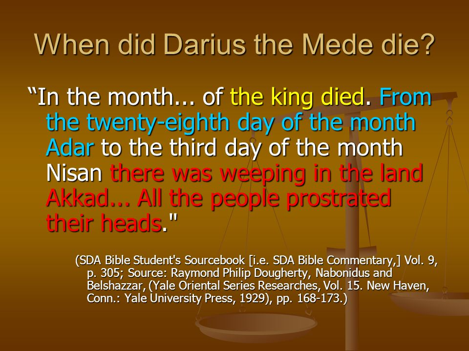When did Darius the Mede die