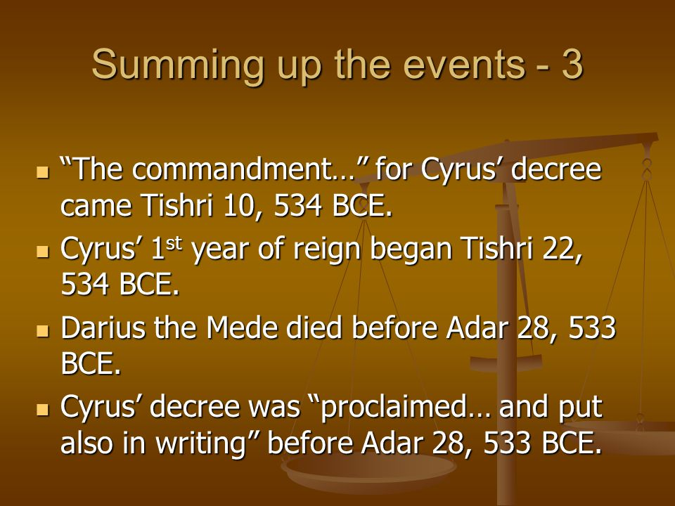 Summing up the events - 3 The commandment… for Cyrus' decree came Tishri 10, 534 BCE. Cyrus' 1st year of reign began Tishri 22, 534 BCE.