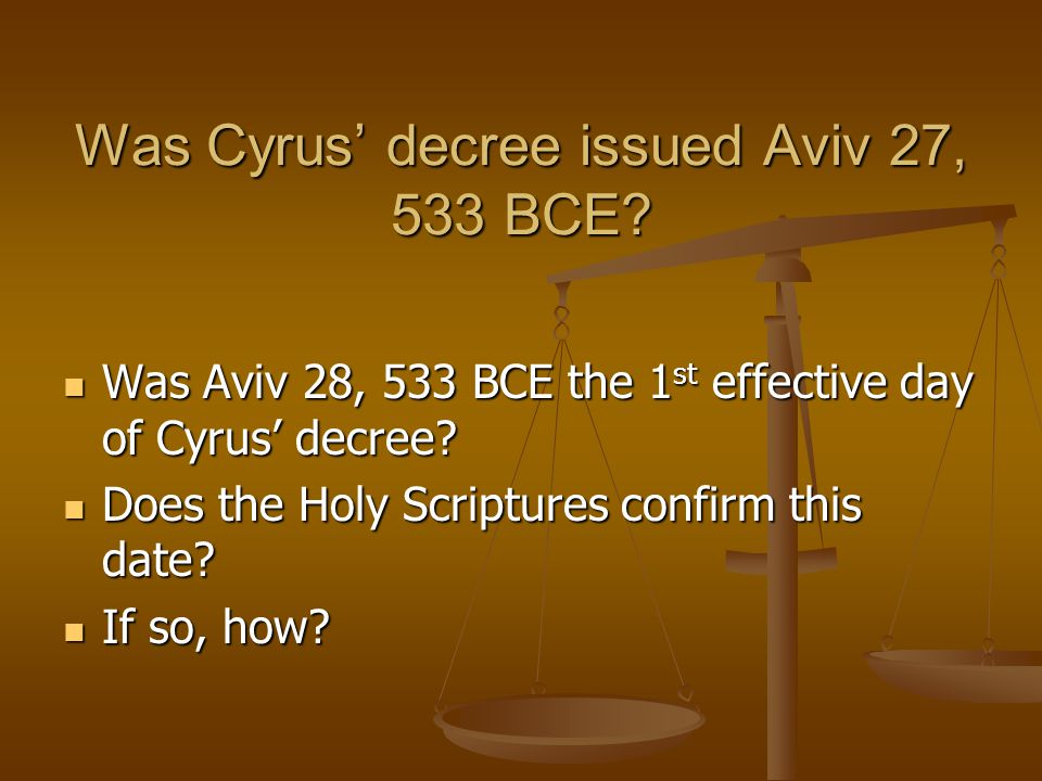 Was Cyrus' decree issued Aviv 27, 533 BCE