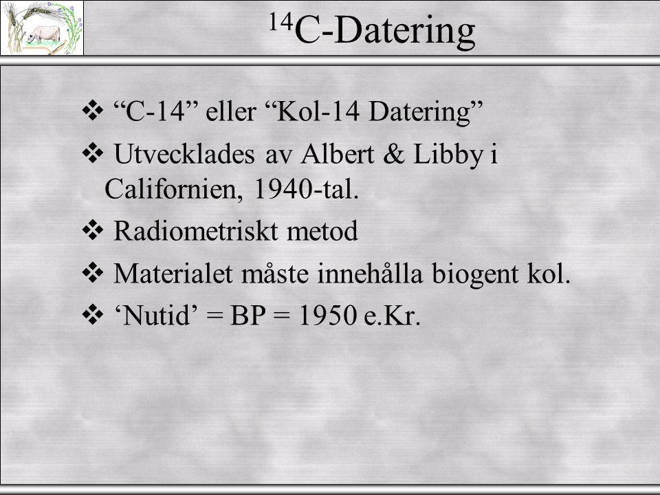 14C-Datering C-14 eller Kol-14 Datering