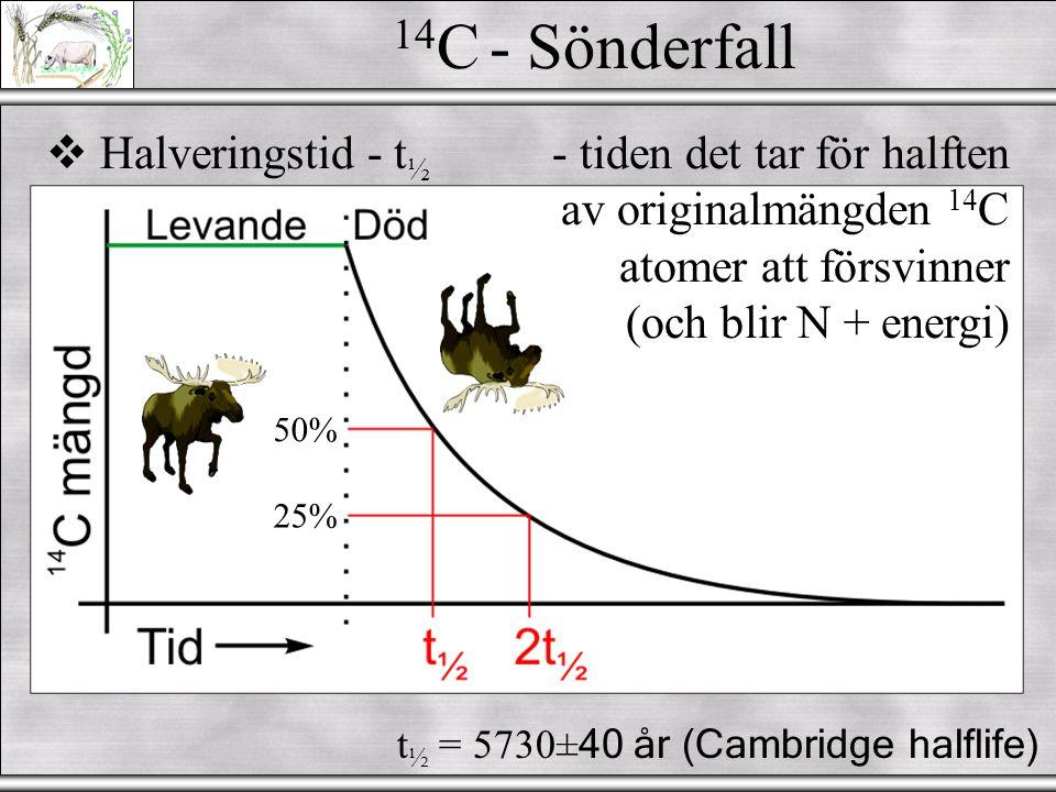 14C - Sönderfall Halveringstid - t½